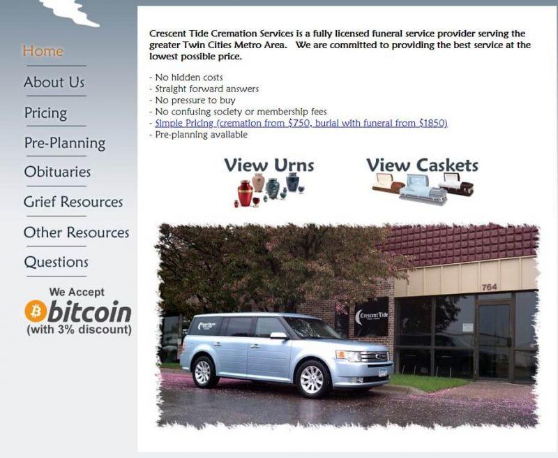 Apbedīšanas birojs pieņem kriptovalūtu