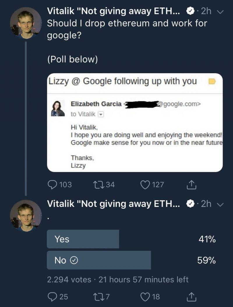 Vitaļiks Buterins paziņojis, ka viņš ir saņēmis uzaicinājumu strādāt Google