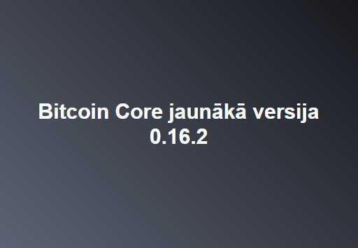 Bitcoin Core izstrādātāju grupa prezentējusi jaunu Bitkoina tīkla galvenā klienta versiju - Bitcoin Core 0.16.2.