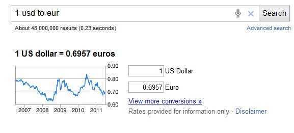 Google savā valūtu konvertētājā