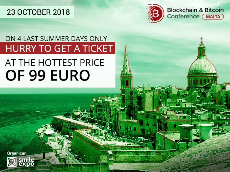 Pirmās 50 biļetes uz Blockchain & Bitcoin konferenci Maltā par 99 EUR