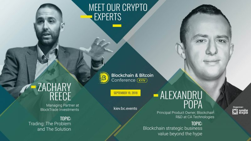 Zachary Reece un Alexandru Popa Blockchain & Bitcoin konferencē Kijevā