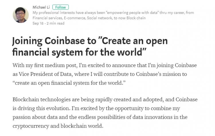 Sociālā tīkla LinkedIn analītikas nodaļas vadītājs Maikls Lī stājies kripto biržas Coinbase datu apstrādes viceprezidenta amatā