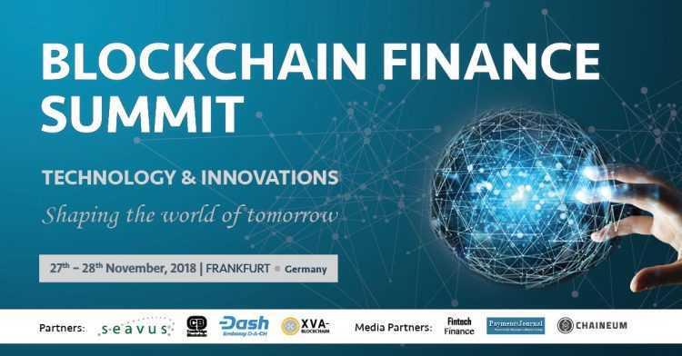Blockchain Finance Samitā 2018, kurš notiks Frankfurtē, Vācijā