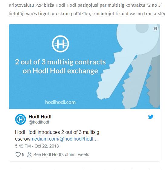 """P2P birža Hodl Hodl aktivizējusi multisig kontraktus """"2 no 3"""""""