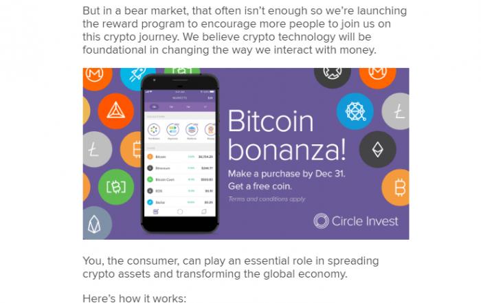 Lietotne Circle Invest jaunajiem lietotājiem dāvina bitkoinus