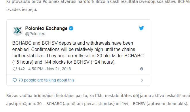 Kriptovalūtu birža Poloniex atvērusi hardfork Bitcoin Cash rezultātā izveidojušos aktīvu BCHABC un BCHSV deponēšanas un izvades iespēju.