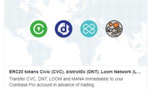 Coinbase Pro pievieno sarakstā Civic, district0x, Loom Network un Decentraland