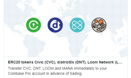 Coinbase Pro pievieno sarakstā Civic, district0x, Loom Network un Decentraland