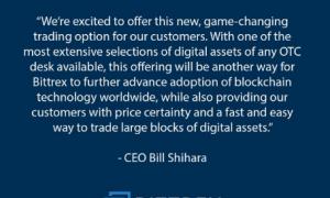 Bittrex atklās OTC platformu ar 200 kripto aktīvu atbalstu