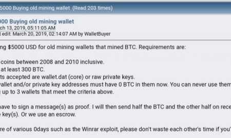 Forumā BitcoinTalk par veciem kripto makiem piedāvā 5000 $