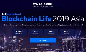 23.-24. aprīlī Singapūrā notiks lielākais forums Blockchain Life 2019, pulcējot 3000 dalībniekus un nozares top kompānijas