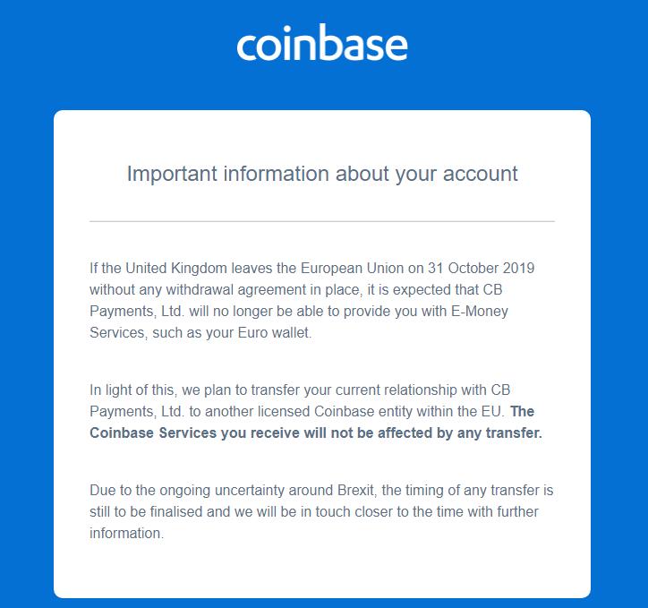 Coinbase brīdina savus klientus