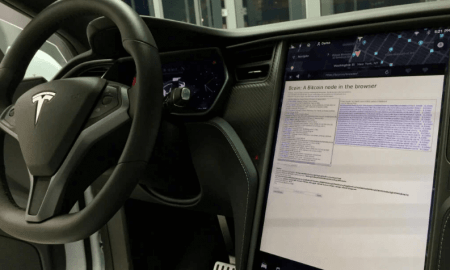 Bitkoina nada Teslas elektroautomašinā