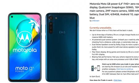 """Moto G8 Power """"pazīmējies"""" Amazon"""