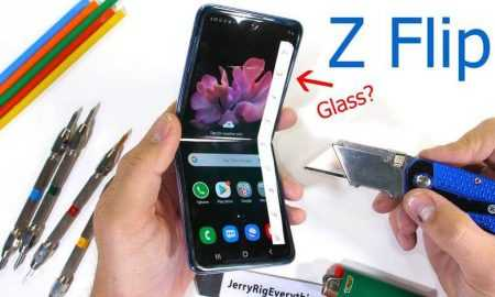 Galaxy Z Flip ekrāna tests