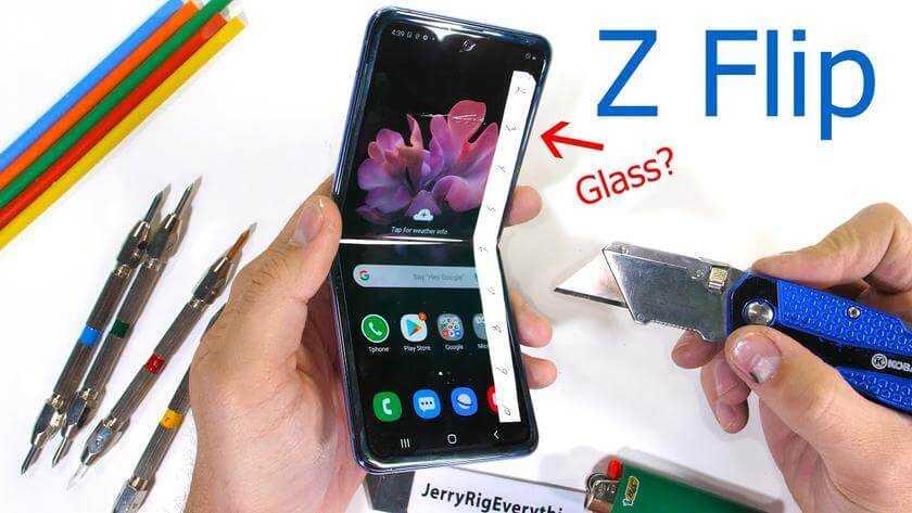 Galaxy Z Flip ekrāna tests