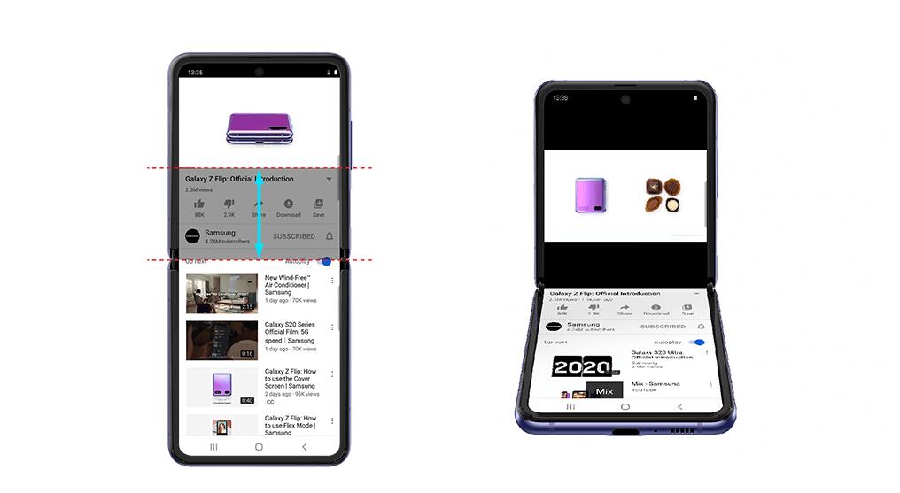 YouTube parādījies salokāmā viedtālruņa Samsung Galaxy Z Flip režīma atbalsts