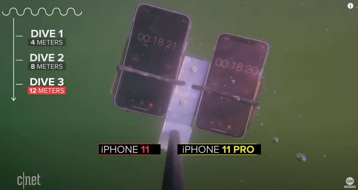 Tests. iPhone 11 un 11 Pro zem ūdens