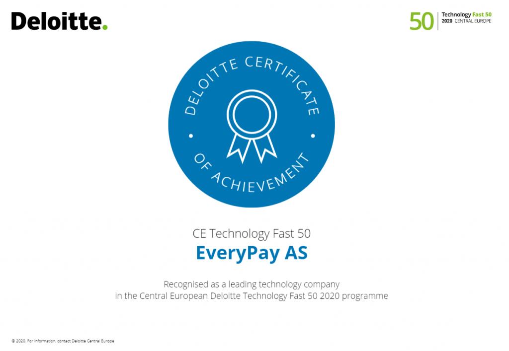 EveryPay ir nosaukts par vienu no visstraujāk augošajām tehnoloģiju kompānijām Eiropā