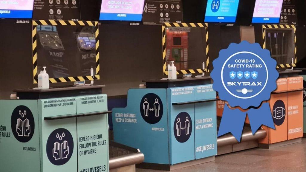 """Lidosta """"Rīga"""" iegūst četras zvaigznes Skytrax vērtējumā par COVID-19 drošības pasākumiem"""
