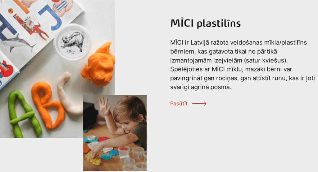 MĪCI ir Latvijā ražota veidošanas mīkla/plastilīns bērniem