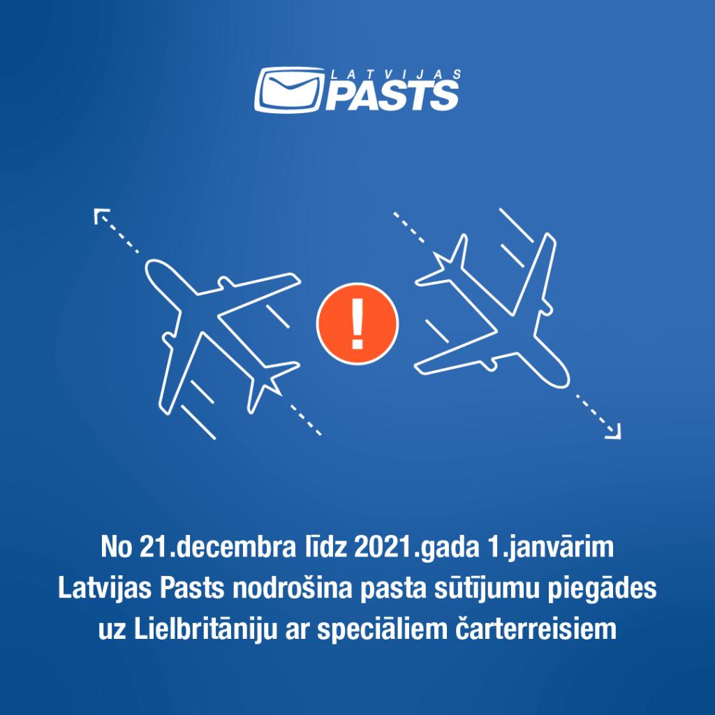 Latvijas Pasts nodrošina pasta sūtījumu piegādes uz Lielbritāniju ar speciāliem čarterreisiem