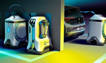 Elektroauto uzlādes robots