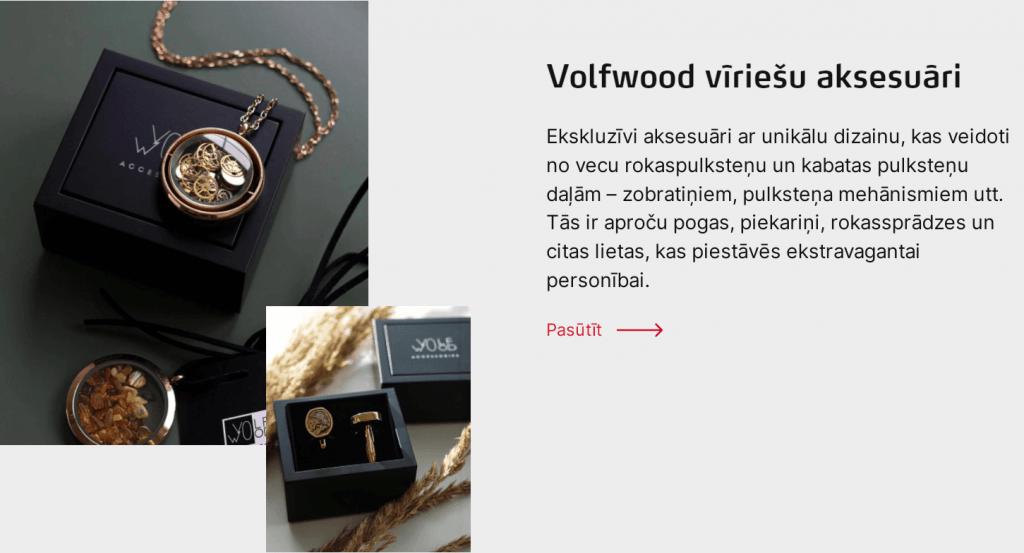 Volfwood ekskluzīvi aksesuāri no vecu rokas pulksteņu un kabatas pulksteņu daļām