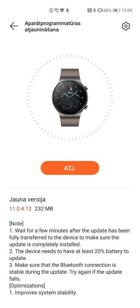 Huawei Watch GT2 Pro atjauninajums2021