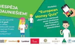 """Skolu klases aicina reģistrēties """"European Money Quiz"""" finanšu pratības viktorīnai"""
