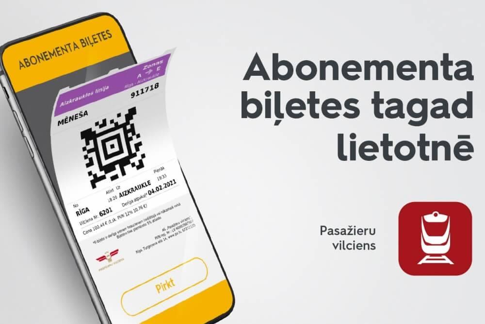 Pasazieru vilciena lietotne papildināta ar abonementa e-biļetes iegades iespeju
