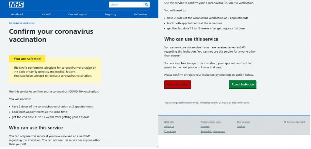 Apvienotās Karalistes Valsts veselības dienesta vārdā rakstītas pikšķerēšanas e-vēstules piemērs