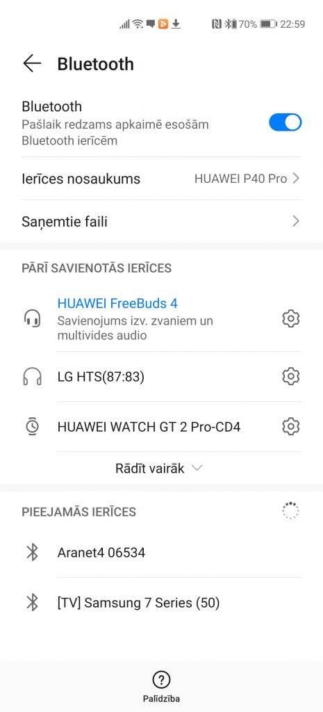Multipoint un citas Huawei FreeBuds 4 funkcijas